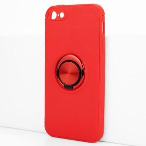 Силиконовый матовый непрозрачный чехол с встроенным кольцом-подставкой для Iphone 5/5s/SE Красный