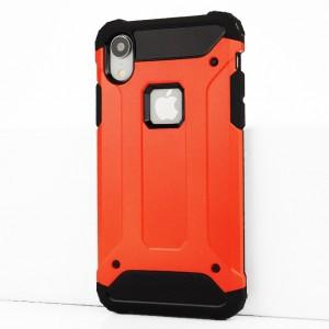 Двухкомпонентный силиконовый матовый непрозрачный чехол с поликарбонатными бампером и крышкой для Iphone Xr Красный