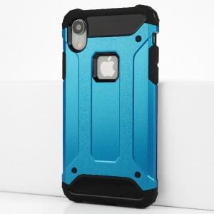 Двухкомпонентный силиконовый матовый непрозрачный чехол с поликарбонатными бампером и крышкой для Iphone Xr Голубой
