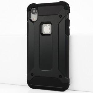 Двухкомпонентный силиконовый матовый непрозрачный чехол с поликарбонатными бампером и крышкой для Iphone Xr Черный