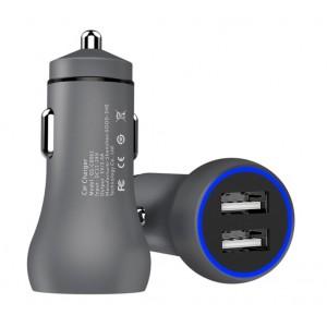 Автомобильное зарядное устройство Dual USB 5V2.4A с LED подсветкой в матовом корпусе Серый