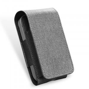 Тканевый чехол на магнитной защелке для IQOS 2 и стиков с кольцом-держателем и доступом к зарядному разъему Серый