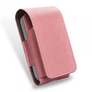 Тканевый чехол на магнитной защелке для IQOS 2 и стиков с кольцом-держателем и доступом к зарядному разъему Розовый