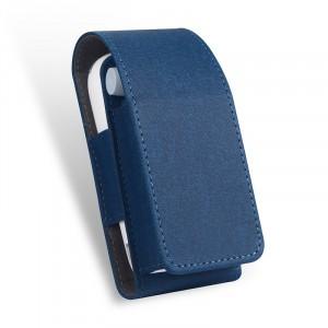 Тканевый чехол на магнитной защелке для IQOS 3.0 и стиков с кольцом-держателем и доступом к зарядному разъему Синий