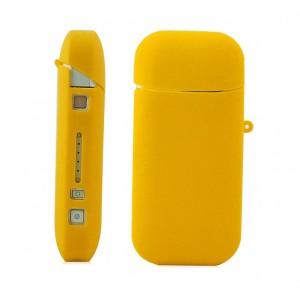 Противоударный силиконовый матовый непрозрачный чехол с ушком для ремешка для IQOS 2 Желтый