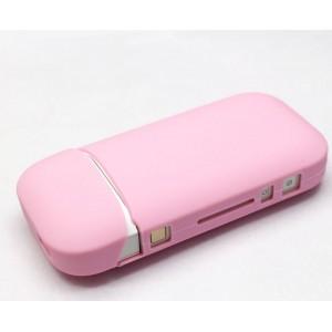 Противоударный силиконовый матовый непрозрачный чехол с ушком для ремешка для IQOS 2 Розовый