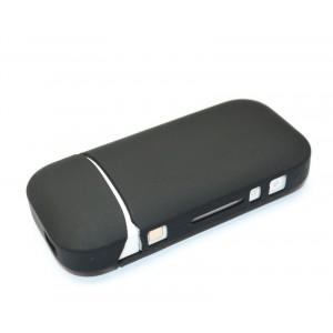 Противоударный силиконовый матовый непрозрачный чехол с ушком для ремешка для IQOS 2 Черный