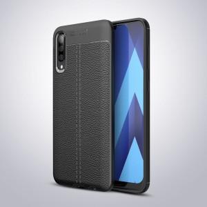 Силиконовый матовый непрозрачный чехол с текстурным покрытием Кожа для Samsung Galaxy A50 Черный