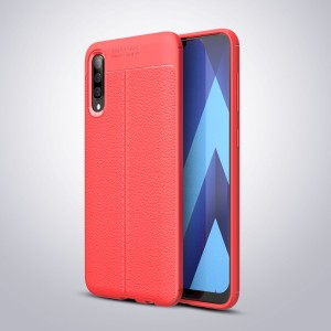 Силиконовый матовый непрозрачный чехол с текстурным покрытием Кожа для Samsung Galaxy A50 Красный