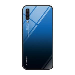 Силиконовый матовый непрозрачный градиентный чехол с поликарбонатной накладкой для Samsung Galaxy A50  Синий
