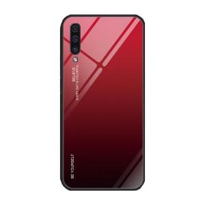 Силиконовый матовый непрозрачный градиентный чехол с поликарбонатной накладкой для Samsung Galaxy A50  Красный