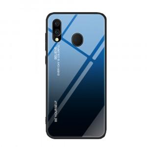 Силиконовый матовый непрозрачный градиентный чехол с поликарбонатной накладкой для Samsung Galaxy A20/A30  Синий