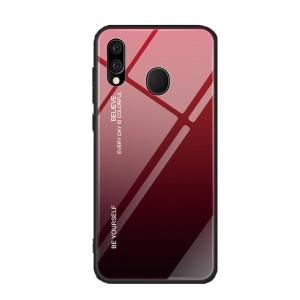 Силиконовый матовый непрозрачный градиентный чехол с поликарбонатной накладкой для Samsung Galaxy A20/A30 Красный