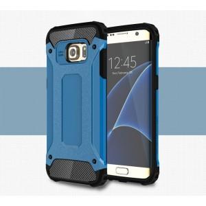 Противоударный двухкомпонентный силиконовый матовый непрозрачный чехол с поликарбонатными вставками экстрим защиты для Samsung Galaxy S7 Edge Синий