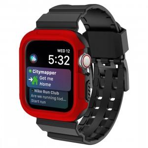 Противоударный чехол силикон/поликарбонат с ремешком для Apple Watch Series 4 44мм Красный