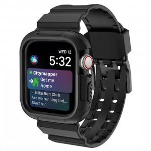 Противоударный чехол силикон/поликарбонат с ремешком для Apple Watch Series 4 44мм Черный