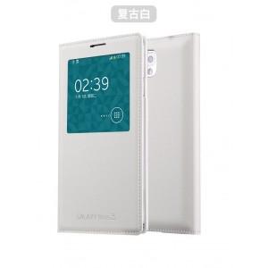 Чехол смарт флип на встраиваемой пластиковой основе с окном вызова для Samsung Galaxy Note 3 Белый