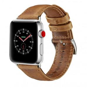 Кожаный водоотталкивающий ремешок для Apple Watch Series 4 44мм/Series 1/2/3 42мм Бежевый
