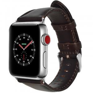 Кожаный водоотталкивающий ремешок для Apple Watch Series 4 44мм/Series 1/2/3 42мм Коричневый