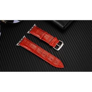 Кожаный ремешок текстура Крокодил для Apple Watch Series 4 44мм/Series 1/2/3 42мм Красный