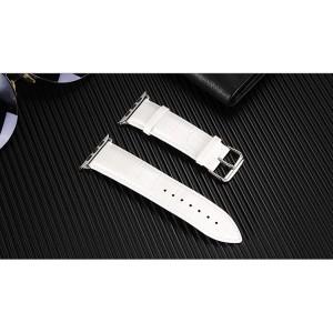 Кожаный ремешок текстура Крокодил для Apple Watch Series 4 44мм/Series 1/2/3 42мм Белый
