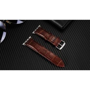 Кожаный ремешок текстура Крокодил для Apple Watch Series 4 44мм/Series 1/2/3 42мм Коричневый