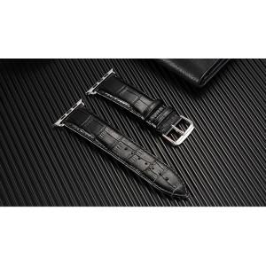 Кожаный ремешок текстура Крокодил для Apple Watch Series 4 44мм/Series 1/2/3 42мм Черный