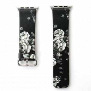 Черный кожаный ремешок с принтом Цветы для Apple Watch Series 4 44мм/Series 1/2/3 42мм Белый