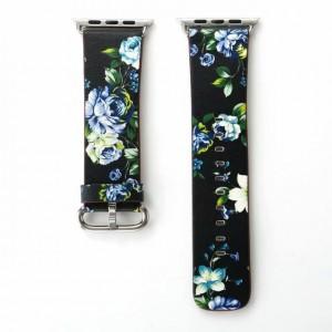 Черный кожаный ремешок с принтом Цветы для Apple Watch Series 4 44мм/Series 1/2/3 42мм Синий
