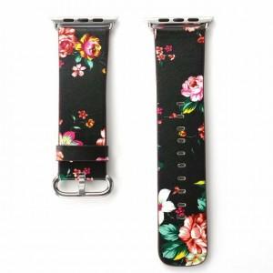 Черный кожаный ремешок с принтом Цветы для Apple Watch Series 4 44мм/Series 1/2/3 42мм Красный