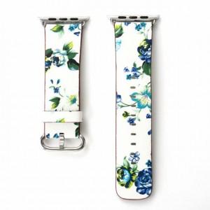 Белый кожаный ремешок с принтом Цветы для Apple Watch Series 4 44мм/Series 1/2/3 42мм Синий