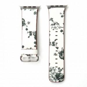 Белый кожаный ремешок с принтом Цветы для Apple Watch Series 4 44мм/Series 1/2/3 42мм Белый
