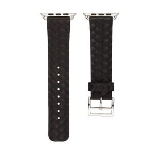 Кожаный плетеный ремешок для Apple Watch Series 4 44мм/Series 1/2/3 42мм Черный