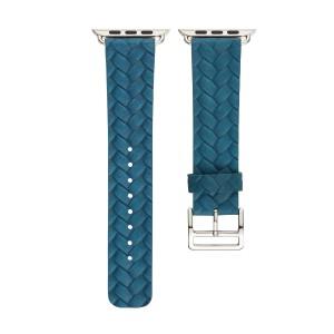 Кожаный плетеный ремешок для Apple Watch Series 4 44мм/Series 1/2/3 42мм Синий