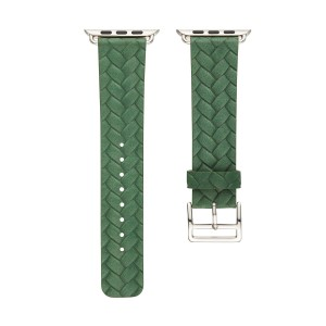 Кожаный плетеный ремешок для Apple Watch Series 4 44мм/Series 1/2/3 42мм Зеленый