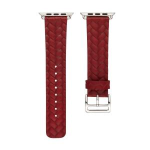 Кожаный плетеный ремешок для Apple Watch Series 4 44мм/Series 1/2/3 42мм Красный