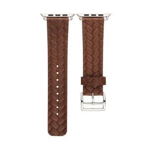 Кожаный плетеный ремешок для Apple Watch Series 4 44мм/Series 1/2/3 42мм Коричневый