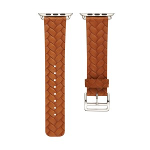 Кожаный плетеный ремешок для Apple Watch Series 4 44мм/Series 1/2/3 42мм Бежевый