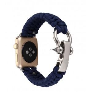 Нейлоновый ремешок ручного сплетения с застежкой из нержавеющей стали для Apple Watch Series 4 44мм/Series 1/2/3 42мм Синий