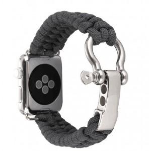 Нейлоновый ремешок ручного сплетения с застежкой из нержавеющей стали для Apple Watch Series 4 44мм/Series 1/2/3 42мм Серый