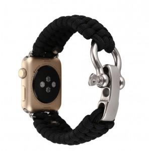 Нейлоновый ремешок ручного сплетения с застежкой из нержавеющей стали для Apple Watch Series 4 44мм/Series 1/2/3 42мм Черный