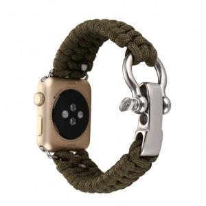 Нейлоновый ремешок ручного сплетения с застежкой из нержавеющей стали для Apple Watch Series 4 44мм/Series 1/2/3 42мм Зеленый