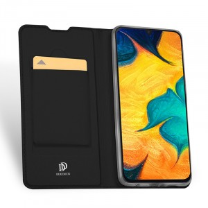 Чехол горизонтальная книжка подставка на силиконовой основе с отсеком для карт для Samsung Galaxy A50  Черный