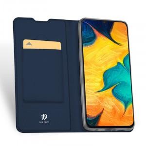 Чехол горизонтальная книжка подставка на силиконовой основе с отсеком для карт для Samsung Galaxy A50  Синий