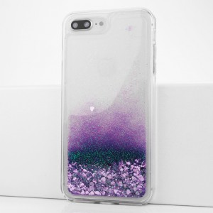 Силиконовый глянцевый транспарентный чехол c внутренней аква-аппликацией для Iphone 7 Plus/8 Plus Фиолетовый