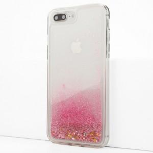 Силиконовый глянцевый транспарентный чехол c внутренней аква-аппликацией для Iphone 7 Plus/8 Plus Розовый