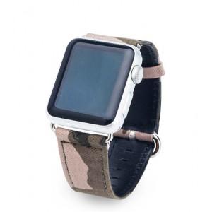 Кожаный ремешок с тканевым покрытием Камуфляж для Apple Watch Series 4 44мм/Series 1/2/3 42мм