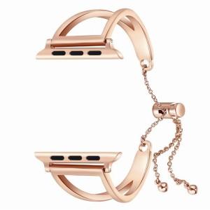 Металлический ремешок из нержавеющей стали с затяжкой для Apple Watch Series 4 44мм/Series 1/2/3 42мм Розовый