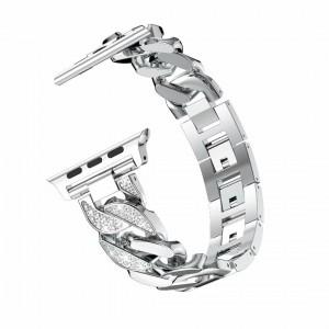 Металлический ремешок из цинкового сплава со стразами и пряжкой для Apple Watch Series 4 44мм/Series 1/2/3 42мм Серый
