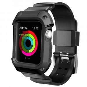 Противоударный силиконовый чехол/ремешок для Apple Watch 42мм Черный